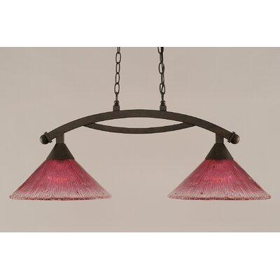 Bow 2-Light Kitchen Island Pendant Shade Color: Wine, Finish: Bronze