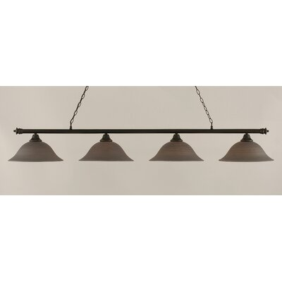 Passabe 4-Light Glass Shade Billiard Light Finish: Dark Granite, Shade Color: Gray