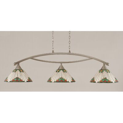Bow 3-Light Kitchen Island Pendant Finish: Brushed Nickel, Shade Color: Green