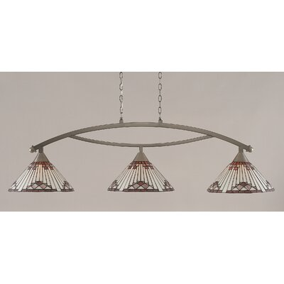 Essonnes 3-Light Glass Shade Kitchen Island Pendant Finish: Brushed Nickel, Shade Color: Purple