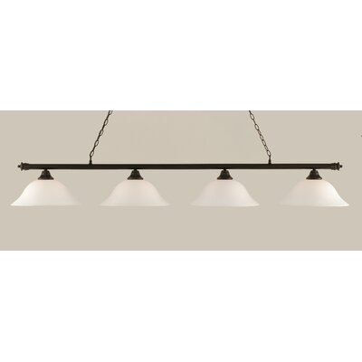 Oxford 4-Light Billiard Light Shade Color: White, Finish: Dark Granite