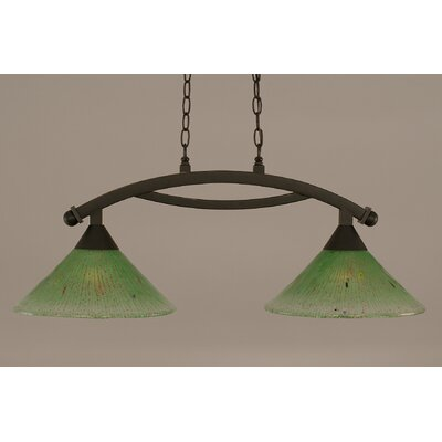 Bow 2-Light Kitchen Island Pendant Finish: Dark Granite, Shade Color: Kiwi Green