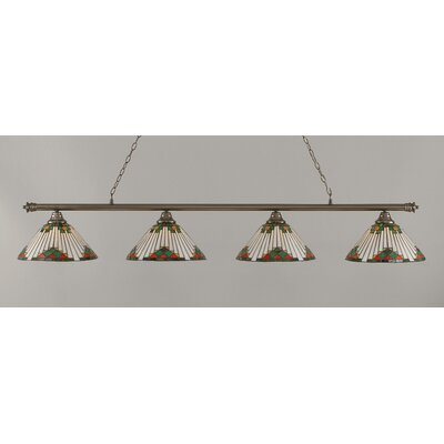 Oxford 4-Light Billiard Light Finish: Brushed Nickel, Shade Color: Green