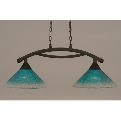 Bow 2-Light Kitchen Island Pendant Finish: Dark Granite, Shade Color: Teal