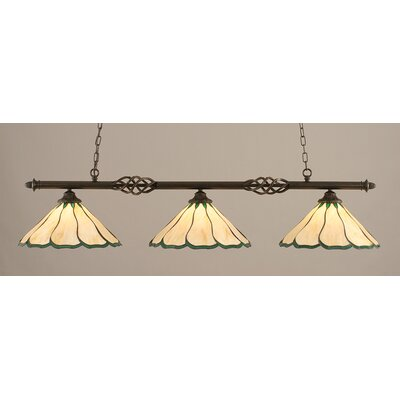 Elegante 3-Light Billiard Light Shade Color: Honey and Hunter Green