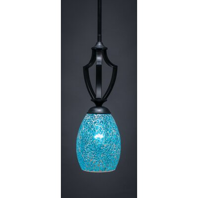 Zilo 1-Light Mini Pendant Finish: Matte Black, Shade Color: Turquoise