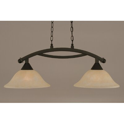 Bow 2-Light Kitchen Island Pendant Shade Color: Amber, Finish: Dark Granite
