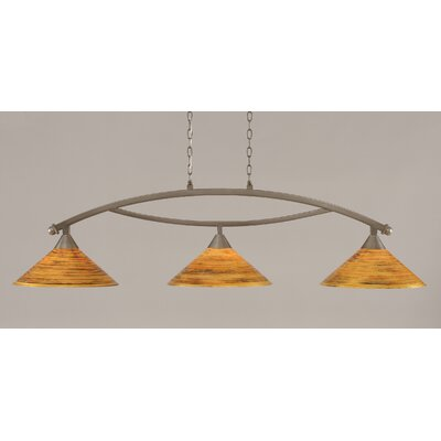 Blankenship 3-Light Downlight Blankenship Bar Pendant with Firr� Saturn Glass Shade Finish: Brushed Nickel