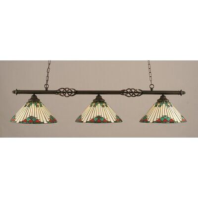 Elegante 3-Light Billiard Light Shade Color: Green
