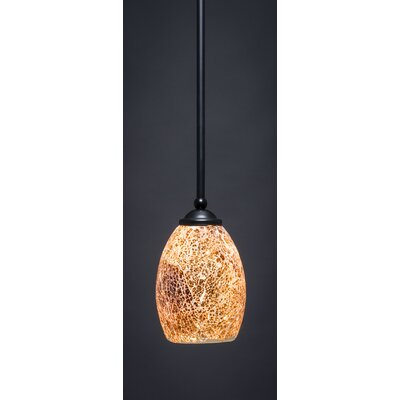 Bedolla 1-Light Mini Pendant Finish: Matte Black, Shade Color: Gold, Size: 8 H x 5 W