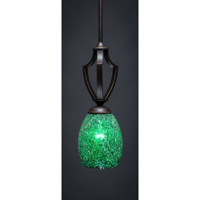 Zilo 1-Light Mini Pendant Finish: Dark Granite, Shade Color: Green