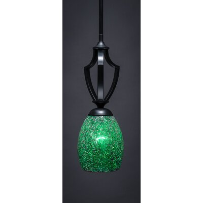 Zilo 1-Light Mini Pendant Finish: Matte Black, Shade Color: Green