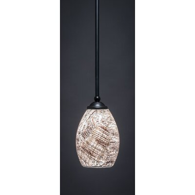 Zilo 1-Light Mini Pendant Finish: Matte Black, Size: 8 H x 5 W, Shade Color: Natural