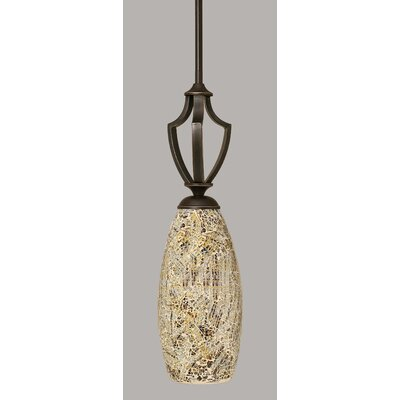 Zilo 1-Light Mini Pendant Finish: Dark Granite, Shade Color: Natural