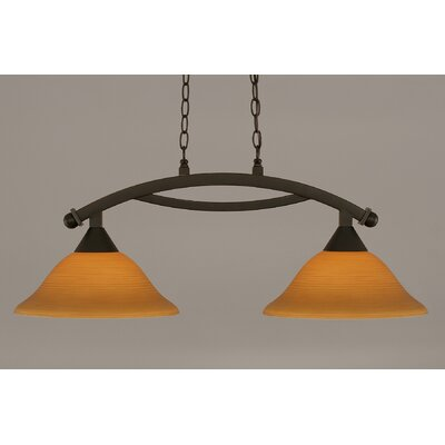 Blankenship 2-Light 100W Adjustable Kitchen Island Pendant Shade Color: Cayenne, Finish: Dark Granite