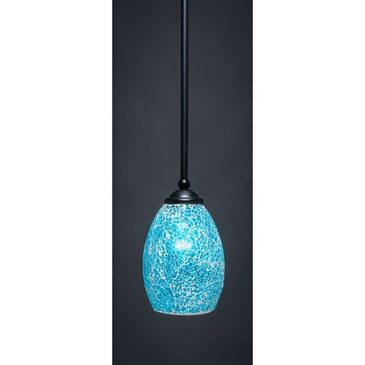 Bedolla 1-Light Mini Pendant Finish: Matte Black, Shade Color: Turquoise, Size: 8 H x 5 W