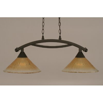 Bow 2-Light Kitchen Island Pendant Finish: Dark Granite, Shade Color: Amber