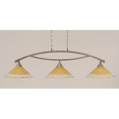 Bow 3-Light Billiard Light Finish: Brushed Nickel, Shade Color: Amber