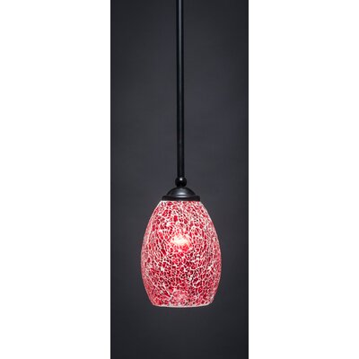 Bedolla 1-Light Mini Pendant Finish: Matte Black, Shade Color: Red, Size: 8 H x 5 W