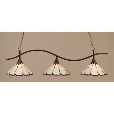 Swoop 3-Light Kitchen Island Pendant Finish: Dark Granite, Shade Color: Pearl