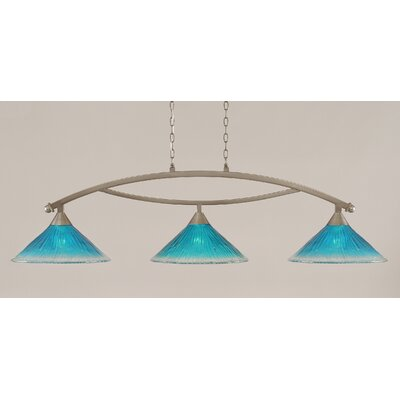 Bow 3-Light Billiard Light Finish: Brushed Nickel, Shade Color: Teal