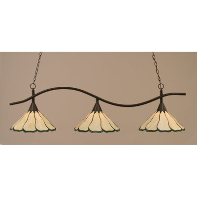 Swoop 3-Light Kitchen Island Pendant Finish: Dark Granite, Shade Color: Honey and Hunter Green