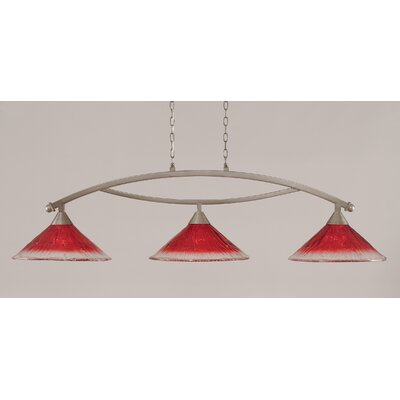 Bow 3-Light Billiard Light Finish: Brushed Nickel, Shade Color: Raspberry