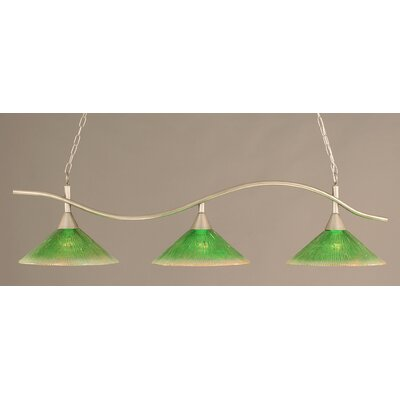 Swoop 3-Light Kitchen Island Pendant Finish: Brushed Nickel, Shade Color: Kiwi Green