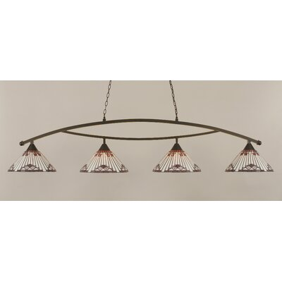 Essonnes 4-Light Glass Shade Kitchen Island Pendant