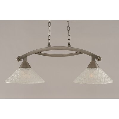 Eisenhauer 2-Light Glass Shade Kitchen Island Pendant Finish: Brushed Nickel