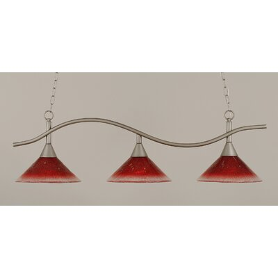 Swoop 3-Light Kitchen Island Pendant Shade Color: Raspberry