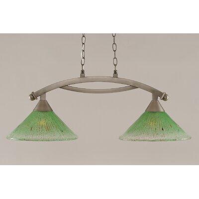 Bow 2-Light Kitchen Island Pendant Finish: Brushed Nickel, Shade Color: Kiwi Green
