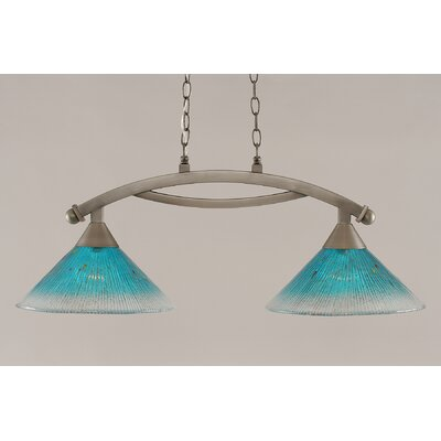 Bow 2-Light Kitchen Island Pendant Finish: Brushed Nickel, Shade Color: Teal