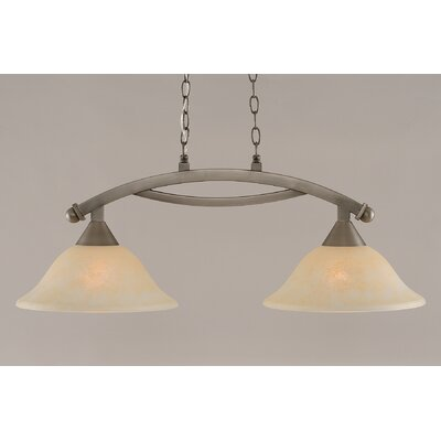 Blankenship 2-Light 100W Kitchen Island Pendant Finish: Brushed Nickel, Shade Color: Amber