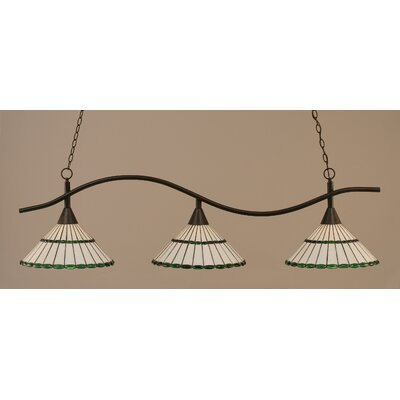 Swoop 3-Light Kitchen Island Pendant Shade Color: Honey and Green, Finish: Dark Granite