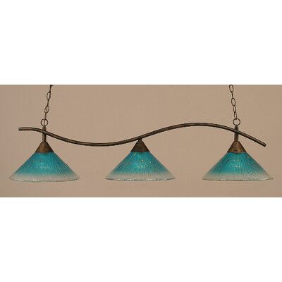 Swoop 3-Light Kitchen Island Pendant Shade Color: Teal
