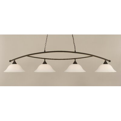 Blankenship 4-Light Billiard Light Color: Dark Granite, Shade Color: White