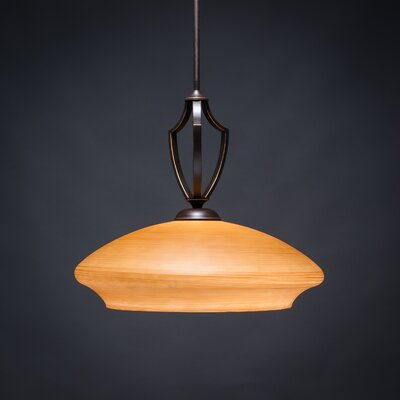 Zilo 1-Light Bowl Pendant Shade Color: White, Base Finish: Dark Granite