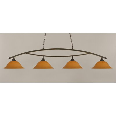 Bow 4-Light Billiard Light Shade Color: Cayenne, Finish: Dark Granite