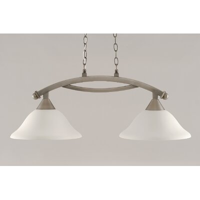 Blankenship 2-Light 100W Adjustable Kitchen Island Pendant Color: Dark Granite, Shade Color: White