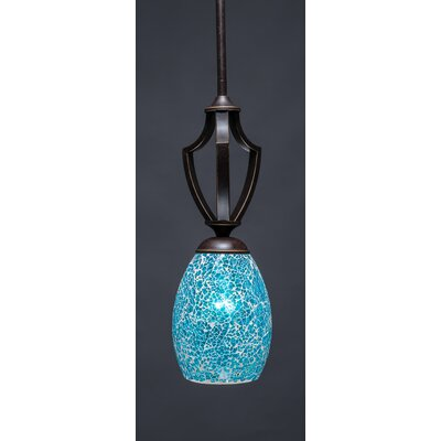Zilo 1-Light Mini Pendant Shade Color: Turquoise, Finish: Dark Granite