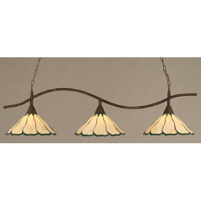 Swoop 3-Light Kitchen Island Pendant Finish: Bronze, Shade Color: Honey and Hunter Green