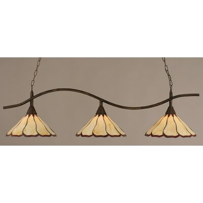 Swoop 3-Light Kitchen Island Pendant Finish: Bronze, Shade Color: Honey and Burgundy