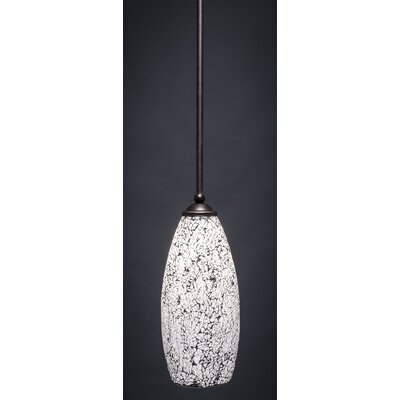 Zilo 1-Light Mini Pendant Size: 8 H x 5 W, Shade Color: Natural, Finish: Dark Granite