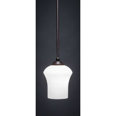 Zilo 1-Light Mini Pendant Shade Color: White, Finish: Dark Granite