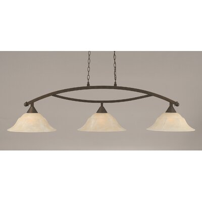 Blankenship 3-Light Kitchen Island Pendant Color: Bronze, Shade Color: Amber