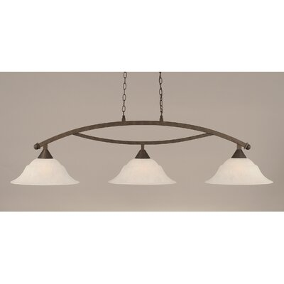 Blankenship 3-Light Kitchen Island Pendant Finish: Bronze, Shade Color: White