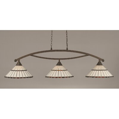 Bow 3-Light Billiard Light Shade Color: Honey and Amber Brown, Finish: Bronze