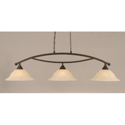 Blankenship 3-Light Kitchen Island Pendant Finish: Dark Granite, Shade Color: Amber
