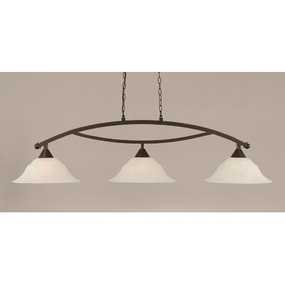 Blankenship 3-Light Kitchen Island Pendant Shade Color: White, Finish: Dark Granite